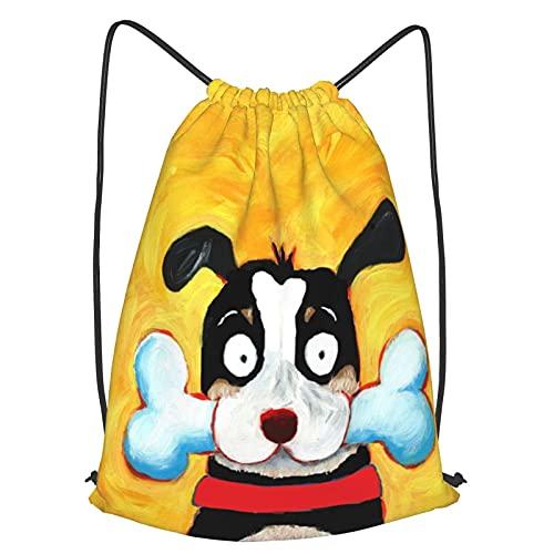 Happy Black Dog Portrait Gym Mochila con cordón para niñas y niños, mujeres, deporte, cincha para yoga, viajes, camping