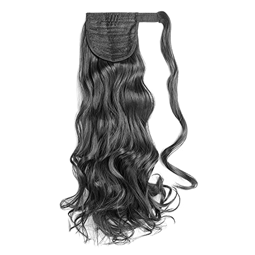CoCo Larue Healthy Clip in Ponytail Hair Extensions Real Strong Human Hair Seamless Thick Silky Soft Wigs for Women Straight Long Shiny Reusable Pure Remy Hair (Black | 24 inches)