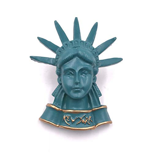 Resin Fridge Magnet Japan Romania Thai Turkey London Tower Bridge French Arc de Triomphe Building Magnetic Refrigerator Stickers Decorations (Color : Statue of Liberty)
