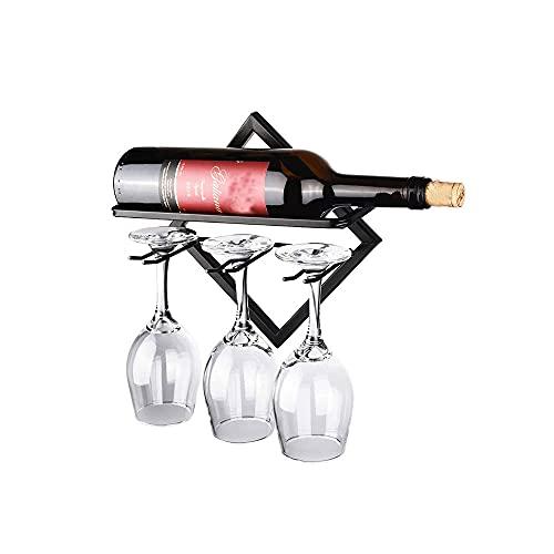 Almacenamiento de Vino Montado en la Pared, Organizador de Copa de Vino, Botellero de Metal Montado en la Pared, Soporte de Estante para Copas, para Hogar y Cocina