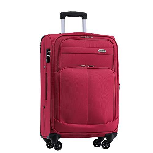 BEIBYE 4 Rollen Reisekoffer 3tlg.Stoffkoffer Handgepäck Kindergepäck Gepäck Koffer Trolley Set-XL-L-M (Weinrot, XL-Großer Koffer-74cm)