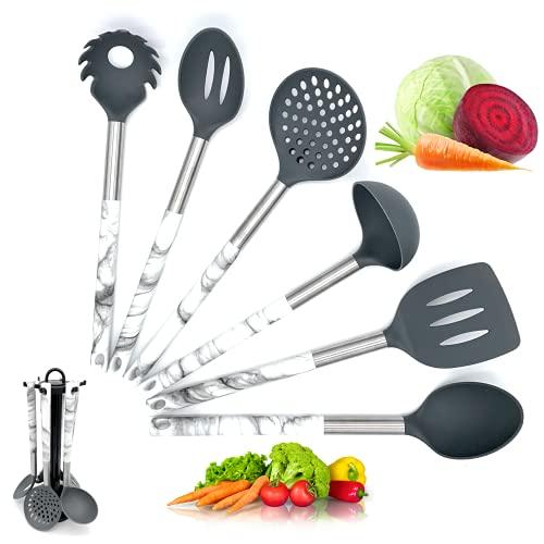 Utensilios de cocina silicona nailon - 6 piezas juego de cucharones cucharas...