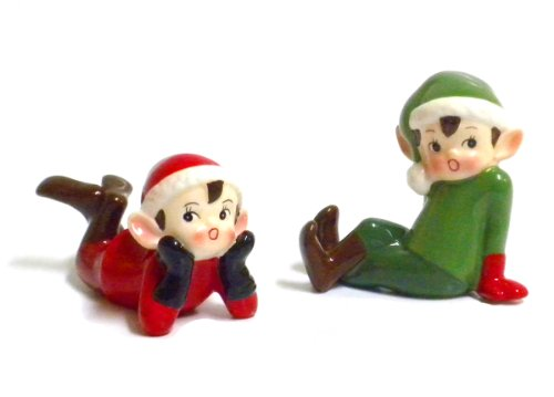180D Retro Vintage Style Christmas Elf Figurines-Red and Green-Set of Two, Red, Green, 3.5' x 4'