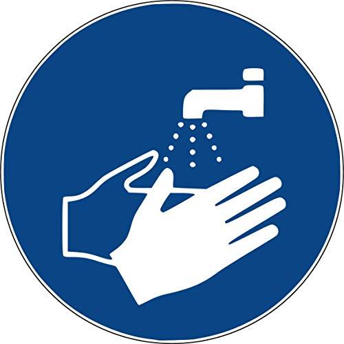 10 Aufkleber Hände Waschen Aufkleber Handreinigung (10 Stück) 95 mm vorgestanzt, selbstklebend, Hand Waschen Schild überkleben, Hände reinigen Gebotszeichen Warnzeichen Hände Waschen M011