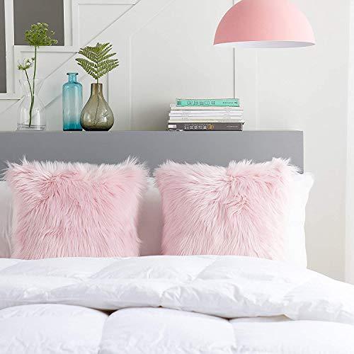 HEXIN Fundas de Almohada Decorativas mullidas y Suaves, 2 Piezas de Fundas de Almohada de Lana, utilizadas para sofás de salón, dormitorios, sillas de Coche, etc. Almohada es de 45x45 cm (Rosa)