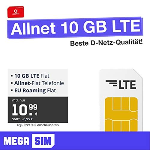 Vodafone Handyvertrag Allnet 10 GB - Internet Flat, Allnet Flat Telefonie & SMS Flat in alle Deutschen Netze, EU-Roaming, 24 Monate Laufzeit
