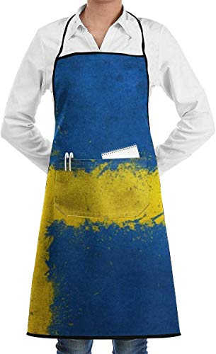 dhdhgdfj Schürze Kochschürze Sweden Flag Aprons Bib Adjustable Polyester Mens Womens Long Full Kitchen Chef Cooking Gardening Apron for Indoor Restaurant BBQ Serving Grill Cleaning Crafting Baking