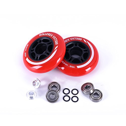 Rollerex VXT500 Inline Skate Wheels (2-Pack w/Bearings, spacers and washers) (Rocket Red, 80mm)