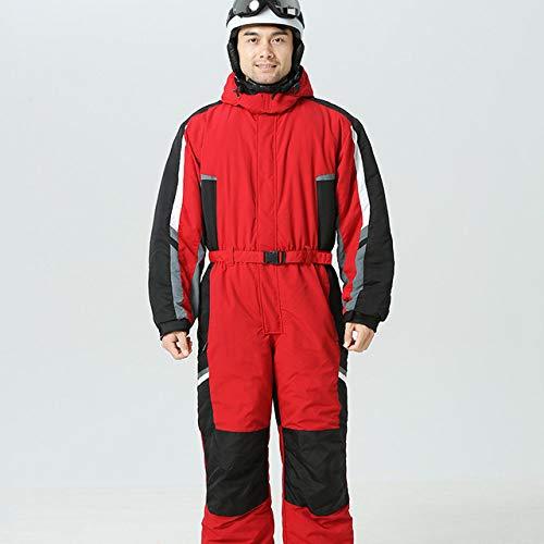 YHWW Combinaison de Ski 2019 Hoodie Snow Jumpsuit Femmes Sports d'hiver Costume Hommes Polaire Combinaison De Ski pour Femmes Warm Snowboard Imperméable Combinaison Veste Femme, Rouge, XXL, 185