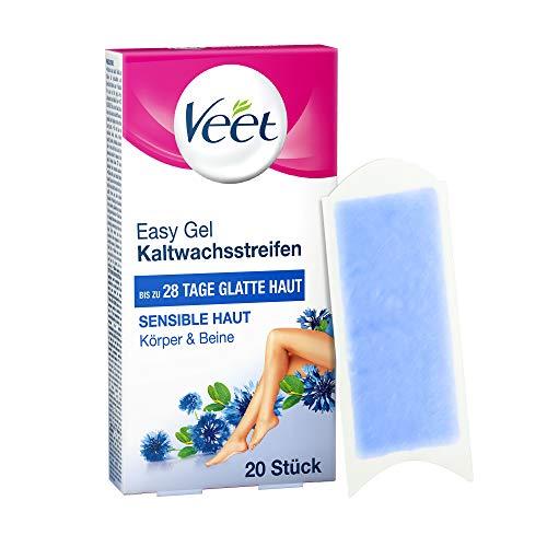 Veet Kaltwachsstreifen mit Easy-Gelwax Technology – Geeignet für sensible Haut – Anwendung für Beine & Körper – Bis zu 4 Wochen glatte Haut – 10 x Doppelstreifen à 20 Anwendungen