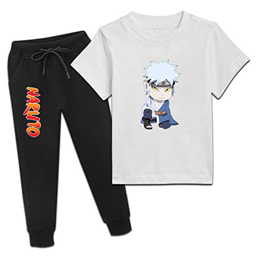 Jsmllia Boys Girls Anime Athletic Tracksuits,Chibi Mi-tis-uki T-Shirts and Sweatpants 2 Piece Outfit Set Small White