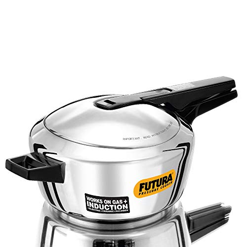 Futura Stainless Steel Induction Compatible Pressure Cooker, 4 Litre, Silver (FSS40)