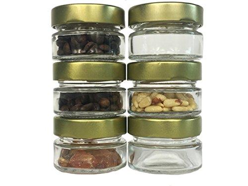 Set voorraadpotten | 80-delig | met schroefdeksel | inhoud 70 ml | Deep deksel kleur 20 goud | 20 zilver | 40 glazen | jampotten honing kaviaar jampotten, potten, inmaakpotten