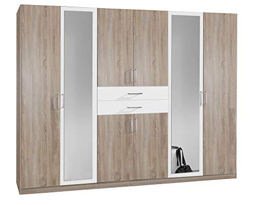lifestyle4living Kleiderschrank mit Spiegel, Eiche Sonoma Dekor, Weiß, 270 cm   Drehtürenschrank 8 türig mit 2 Schubladen im klassischen Stil