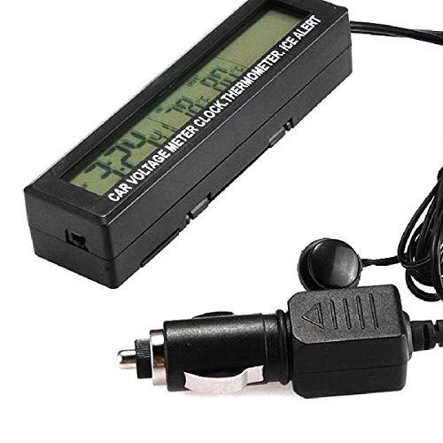 NoyoKere 3 in 1 Auto Thermometer Digital LCD Uhr Spannungsmesser Temperaturanzeige 12 V / 24 V LCD Digitalanzeige Uhr mit Zigarettenanzünder Autoladegerät