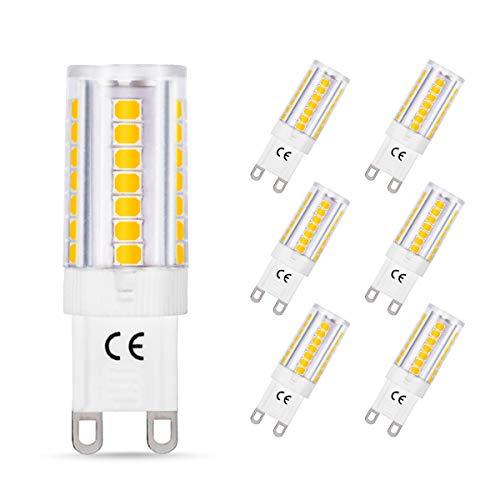 6er Pack LOHAS G9 LED Lampe, 5W Ersatz für 40W Halogen Lampen, 400lm, Nicht Dimmable (3000K Warmweiß)