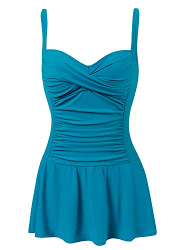 Womens Tummy Control one Piece Skirted Swimsuit Bathing Suit with Ruching(Turquoise,Size 14)