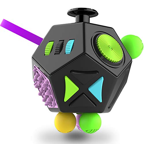 Fidget Dodecagon –12-Side Fidget Cube Relieves Stress and Anxiety Anti Depression Cube for Children and Adults with ADHD ADD OCD Autism (B2 Black Colorful)