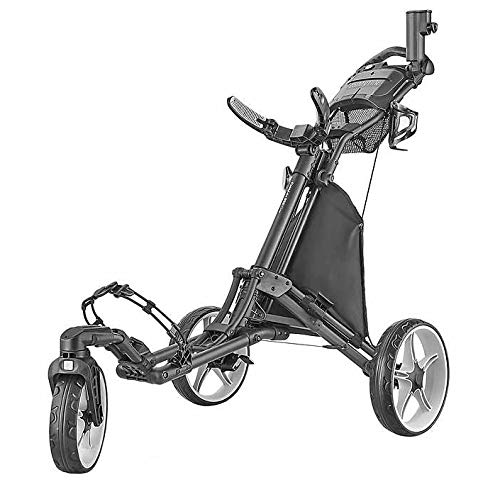 tour-made Caddytek EZ Quickfold V8 Swivel 3 Rad Golf Push Trolley Pushtrolley 3wheel schwarz/grau…
