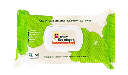 Happy Little Camper Natural Cotton Baby Wipes with Aloe Vera and Vitamin E, Chlorine-Free, Biodegradable and Dermatologically Tested, 72 Count