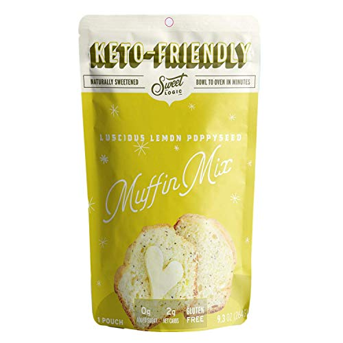 SWEET LOGIC Keto Baking Mix | Delicious Keto Baked Goods With Just 1-2G Net Carbs Per Serving | Gluten Free, Naturally Sweetened Low Carb, Diabetic Friendly | (Lemon Poppyseed Muffin)