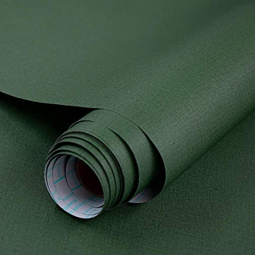 Dark Green Faux Flaxen Grasscloth Peel and Stick Wallpaper Self-Adhesive...