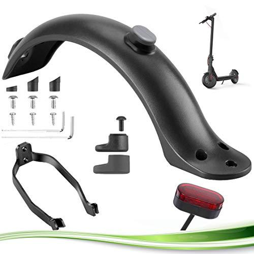 ELKATECH | Guardabarros para Xiaomi M365 / M365 Pro patinete electrico con soporte de guardabarros y luces de freno | Accesorio de reemplazo para el Scooter Eléctrico con herramientas y tornil