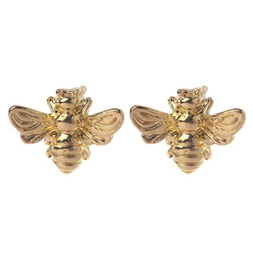 U/K Earrings 1 Pair Cute Tiny Honey Bee Stud Earrings Insect Bumble Bee Jewelry Gold Silver Gold Practical and Popular