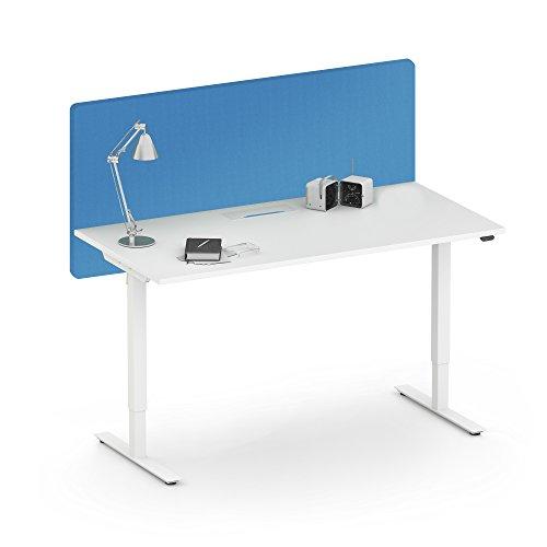 WeberBÜRO Akustik Tischtrennwand Desk Sichtschutz Lärmschutz Schallabsorbierend Raumteiler, Farbe:GS9 - Hellblau meliert, Größe:1400x36. H=760 mm