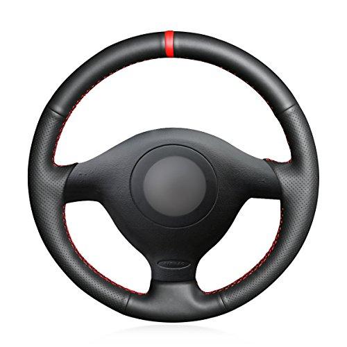 MEWANT Hand Nähen Schwarz Kunstleder Mikrofaser Leder Auto Lenkradhülle Lenkradbezug für Golf 4 für Passat B5 für Polo MK6 für Seat Leon 1M für Fabia 1(6Y)