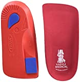 Vasyli Custom 3/4 Length Insoles, Red, Small, Fast & Effective Pain Relief, Solid Biomechanical Control, Firm Density, High Performance Orthotic, Athletes, Overweight Patients, Heat Moldable