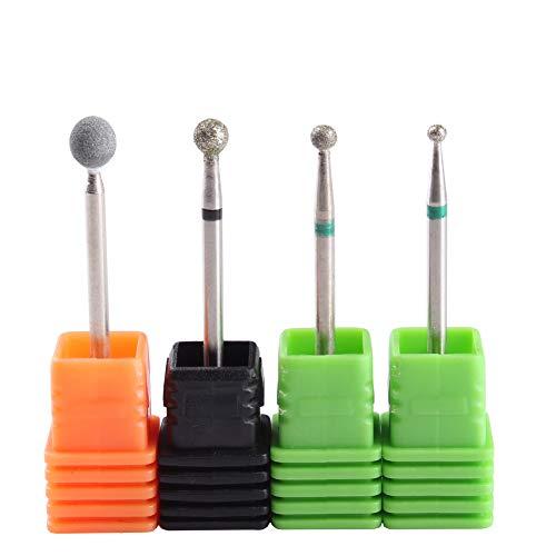MZCMSL 4PCS Cuticle Clean Drill Bit Diamond Nail Bit Ball Head Stone File Manicure Pedicure Nail Art Tools