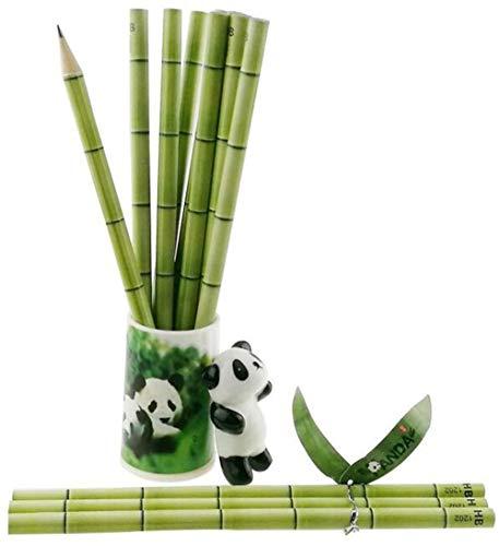 Panda Hemed Party Supplies | Panda Stationery Kit voor Goodies zakvulpen | gum pennenmapje puntenslijper sleutelhanger voor kinderen