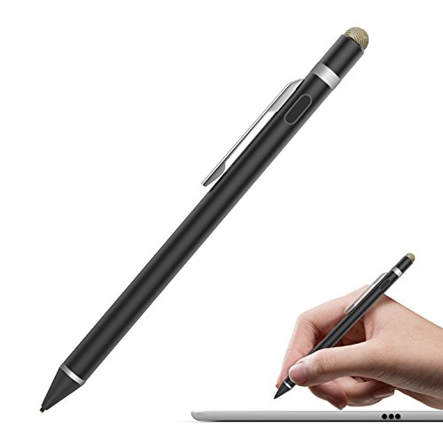 MoKo Universal Active Stylus Pen, Capacitive Fine Point Touch Screen Tablets Stylus Pencil Fit with Apple iPad, iPad Mini/Air/Pro, iPhone, Samsung Galaxy, Touchscreen Devices & Smartphones - Black
