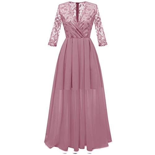 Women's clothing Schlanke Spitzekleid, Sieben langärmelige Chiffon Haute Couture Kleid, Neckholder-Kleid Langen Abschnitt von Prom Kleider ZDDAB