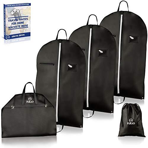 FR FiRiO® 4 x Kleidersäcke Anzug Schutzhülle (EXTRA DICK 120 GSM)   Kleiderhüllen mit Reißverschluss   Business Kleiderschutzhülle Reise für Anzug Transport   Mottenschutz Kleidersack mit Tragegriff