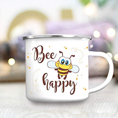 Wandtattoo-Loft Campingbecher Bee Happy mit Biene und Punkten Emailletasse