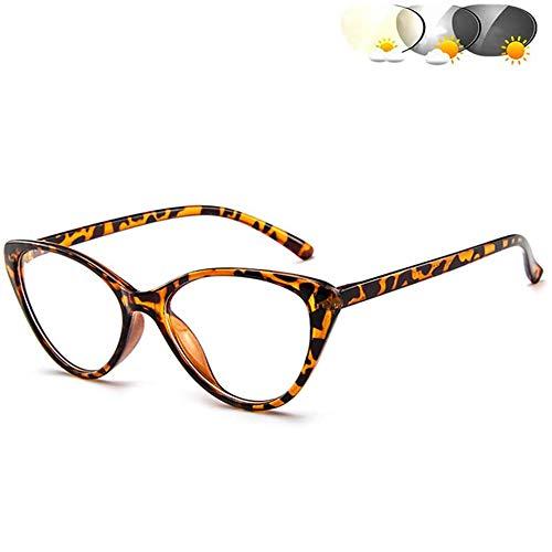 Progressive Multifocus Bril, Transition Photochromic Leesbril, Veraf En Dichtbij Leesbrillen Ultralight Anti Glare Eye Strain Lezers Voor Mannen En Vrouwen,Brown,+2.0