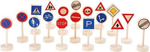 Small Foot 7064 panneaux de signalisation en bois, accessoires pour chemins de fer en bois, apprentissage ludique du code de la route, 18 pcs.
