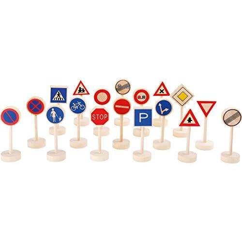 7064 Segnali stradali small foot, segnaletica stradale in legno, accessori per ferrovie in legno, imparare le regole del traffico in modo giocoso, 18 pz.