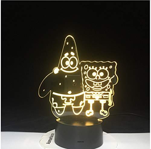 SpongeBob Patrick Acryl 7 Farben Schreibtischlampe 3D-Lampe Neuheit Led Nachtlicht Quadratische Hosen LED Vision Stereo Lampe Kinder Babyzimmer 7 Farbe keine Fernbedienung