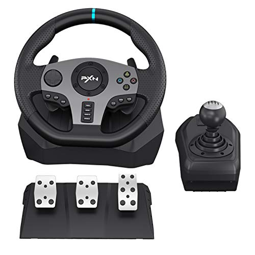 PC Racing Wheels PXN V9 270/900°Game Racing Wheel, PS4 Racing Steering Wheel Dual-Motor Feedback Driving,with Pedals and Joystick PC Steering Wheel,Suitable for Xbox /Xbox One/PS3/PS4/PC/Xbox One/N-Switch