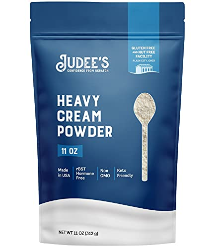 Judee's Heavy Cream Powder 11oz - GMO and Preservative Free - Produced in the USA - Keto Friendly - Add Healthy Fat to Coffee, Sauces, or Dressings - Make Liquid Heavy Cream