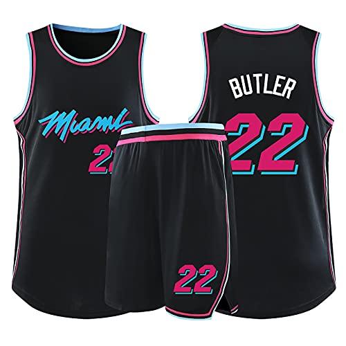 Camiseta de Baloncesto de la Leyenda de la NBA para Hombre - Miami Heat #22 Jimmy Butler Uniforme de Baloncesto City Edition Camisa Bordada Chaleco Conjunto de Pantalones Cortos Black-3XL (175~180cm)