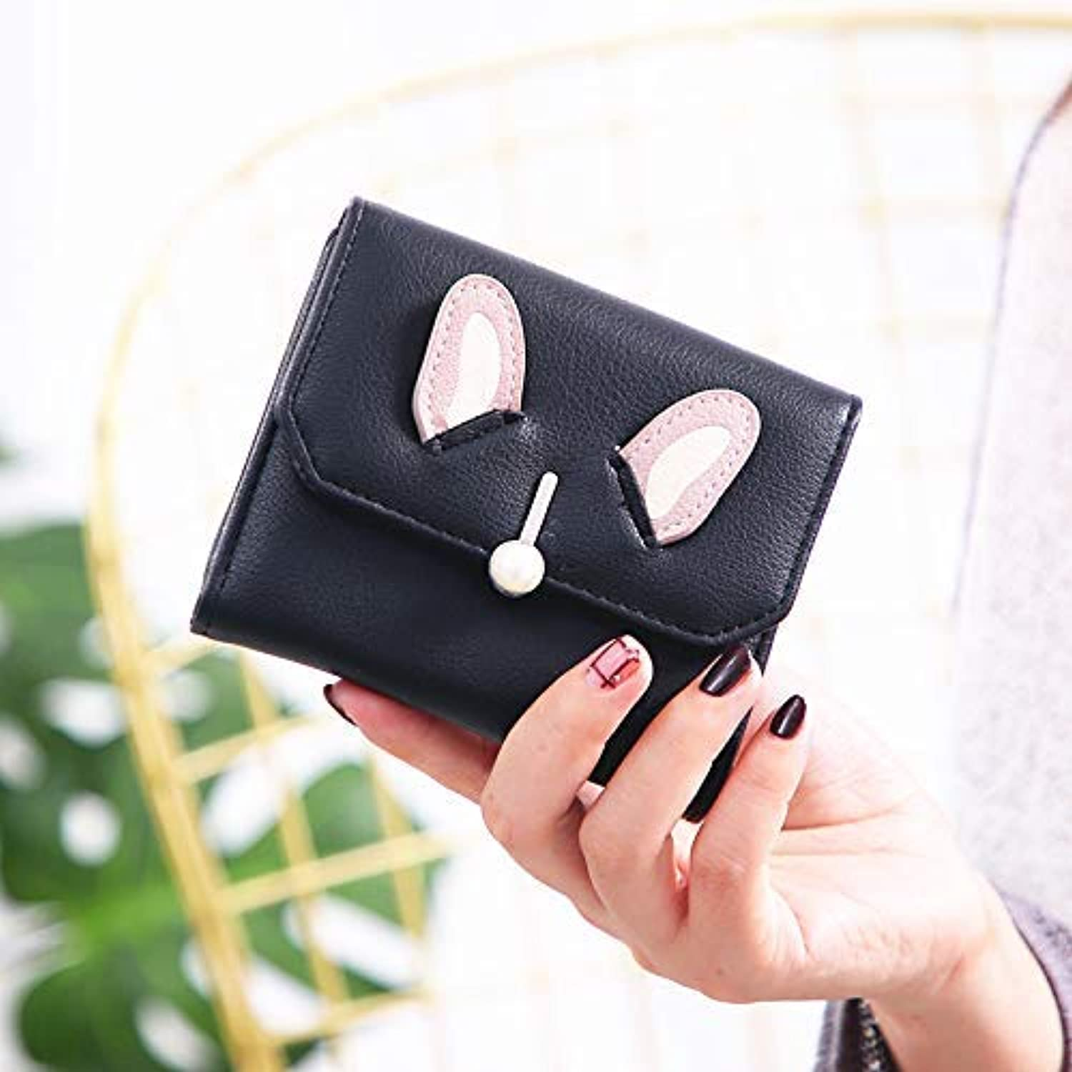 New Wallet Female Short Paragraph Cute Student Bunny Ears Girl Heart Wallet (color   Green) Ladies Purses (color   Black)