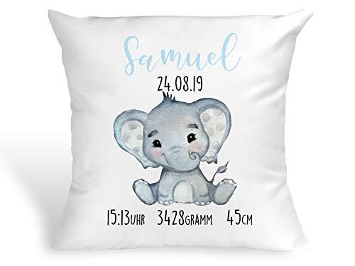 Tachinedas Kreativshop Personalisiertes Kissen mit Elefant Geschenk zur Geburt oder Taufe mit Namen und Datum Junge