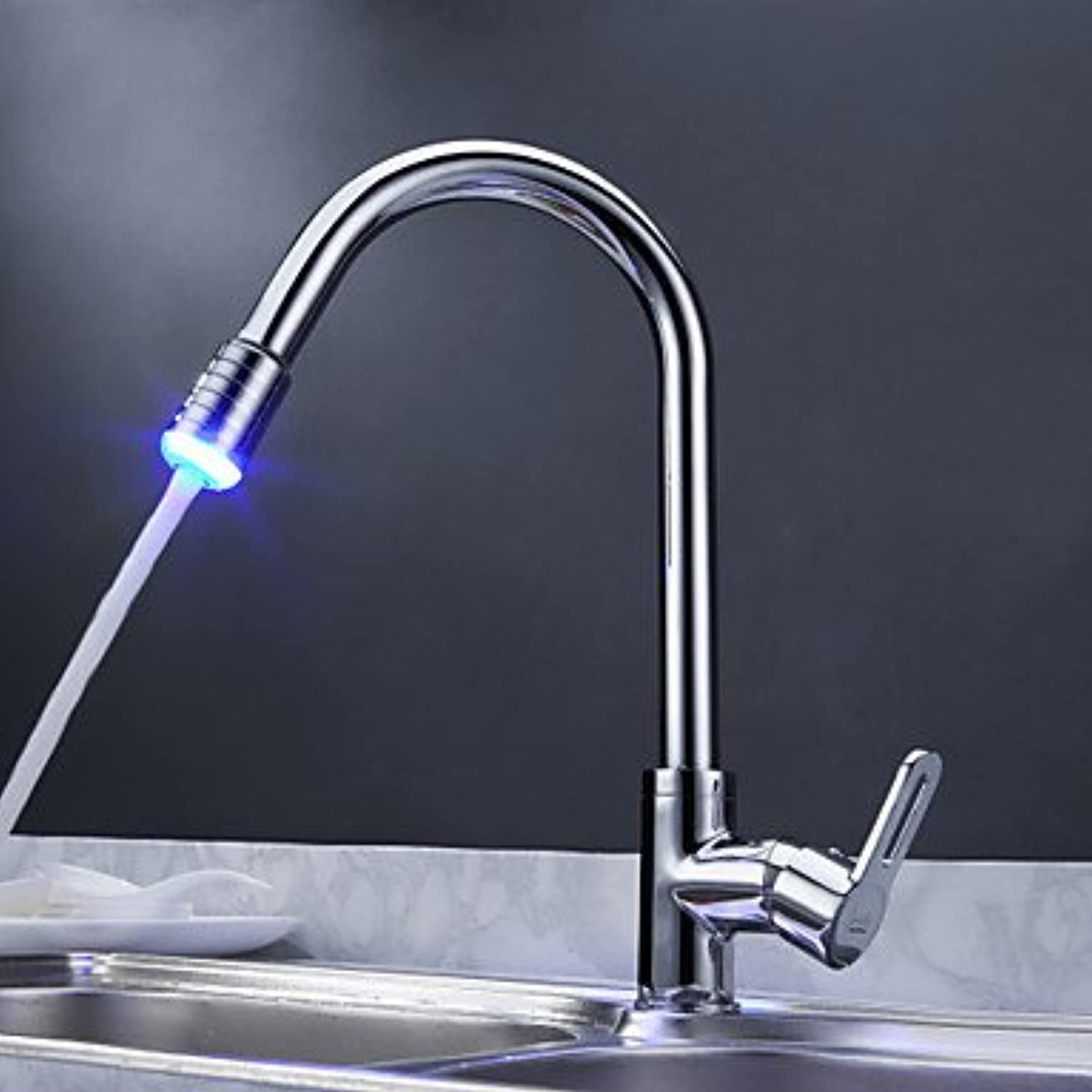 U-Enjoy Solid Brass Pull Top Quality Out Water Kitchen Sink Faucet Tap with color Changing Led Light (Free Shipping)