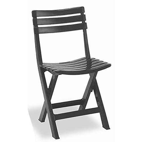 HOGAR Y MAS Silla Plegable Birki Antracita de Resina, Color Negro 44X41X78cm