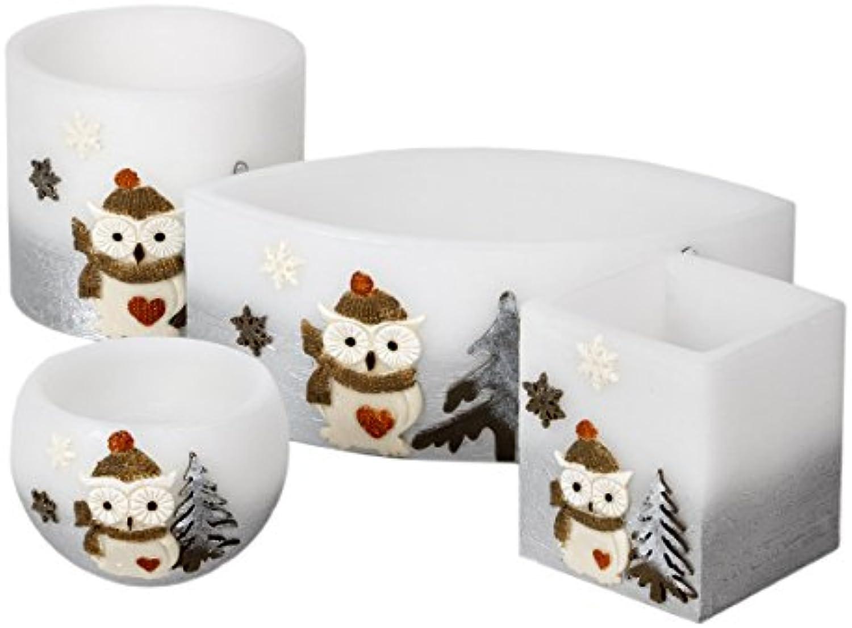 Adpal Kerzenmanufaktur 4er Lampion Sparset Teelicht Weihnachtskerze Eulenmotiv Mütze Silber wei Kerze