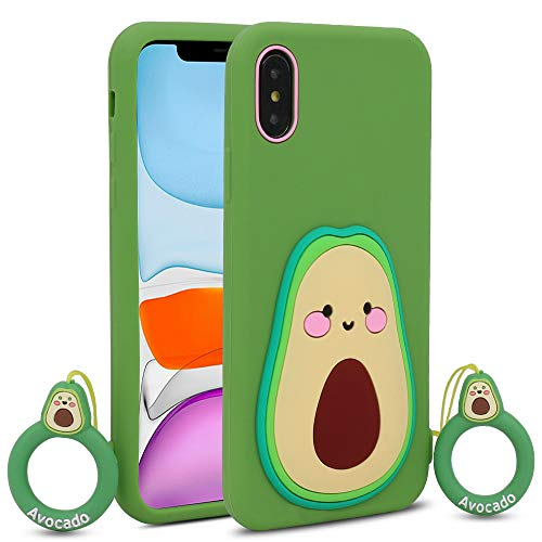 BEFOSSON Avocado Case for iPhone X/XS for Kid Girls Teens Boys (5.8 inches), 3D Cartoon Charactor Cute Funny Kawaii Avocado Soft Silicone Rubber Protective Phone Cover Case for iPhone X/XS